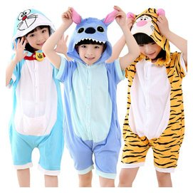 短袖動物寶寶卡通連體兒童睡衣女大童男孩夏薄款純棉家居服套裝
