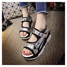 2015 韓國厚底涼鞋女夏沙灘鞋松糕鞋魔術貼 平跟搖搖女鞋潮