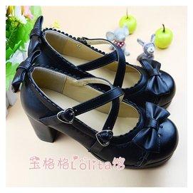 日繫lolita高跟公主圓頭女單鞋淺口蝴蝶結學生女鞋甜美洋裝娃娃鞋