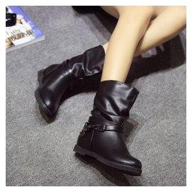 英倫風平底女靴馬丁靴潮女低跟短靴內增高女單靴中筒靴皮靴子加絨