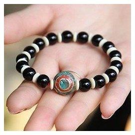 情侶手鏈藏飾天珠 吉祥天然黑瑪瑙飾品 男女手飾特色 藏語珠子