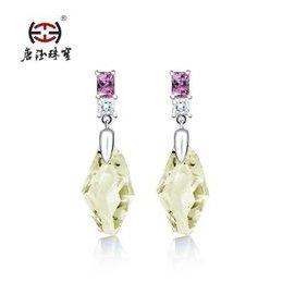 唐鈺 黃水晶耳釘耳環 925純銀鑲嵌寶石 珠寶新品品牌 婚慶