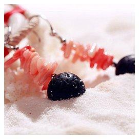 Enny Monaco意大利 高端 飾品耳環耳釘耳線火山熔岩粉珊瑚