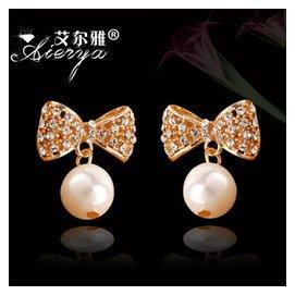 艾爾雅韓國 蝴蝶結水晶貝殼珍珠耳釘耳環鑲捷克鑽耳飾品鍍真金