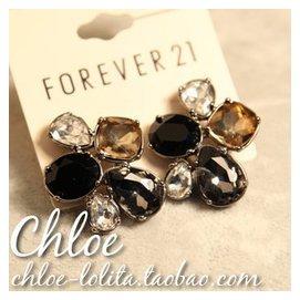FOREVER21原單 透明95檳黃色黑白灰彩色寶石玻璃水鑽水滴耳釘耳環