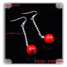 925純銀紅珊瑚甜美可愛長款糖果耳環耳飾耳墜0643