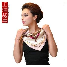 1上海故事 鏈條桑蠶絲絲巾 真絲小方巾女 職業OL 風~粉色