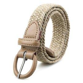 1親密百合防過敏扣頭 彈性編織腰帶(本繫列較細較短, :女士或兒童) 米色