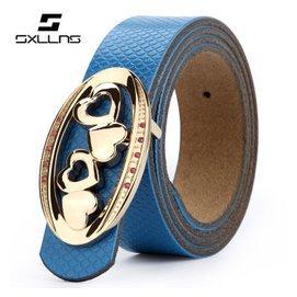 1SXLLNS賽倫斯 真皮 復古 女士平滑扣皮帶SX~B1003 藍色 ^(備注所需長度^