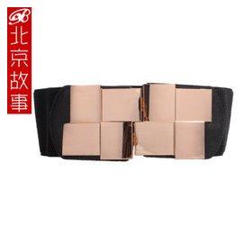 1北京故事 女士大衣合金腰帶 連衣裙 腰鏈 腰封 黑色