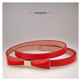 1蝴蝶結腰帶 頭層牛皮皮帶 女士細款真皮腰帶腰封 連衣裙腰帶2015春夏 紅色