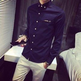 Sentimental Shop~ 學生 碎花鑲邊長袖襯衫 修身 潮流大  藍  紅  黑