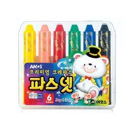 ♀高麗妹♀韓國 AMOS 6色口紅式旋轉 水蠟筆 無毒無味 水溶性粉彩水彩刮畫    7組