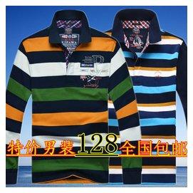 秋 男士鯊魚長袖男裝古老條紋翻領純棉POLO衫商務 刺繡t恤