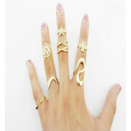 日韓 館^~韓國新品明星同款韓系飾品 金色銀色簡約開口七件套裝戒指  指環 飾品 風尾戒潮