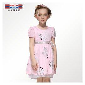 鉛筆俱樂部 夏裝 女童連衣裙碎花 童裙公主裙女大童裙子