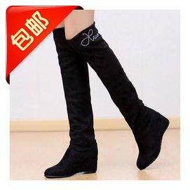 春秋鼕女鞋靴子內增高中靴坡跟彈力靴絨面過膝長靴高跟女靴高筒靴
