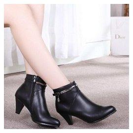 意爾康女短靴正品2014 秋鼕季真皮保暖高跟粗跟職業馬丁靴女鞋