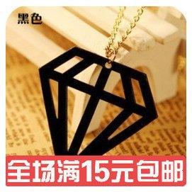 優美義烏韓國小飾品 熒光鏤空立體鑽石三角形項鏈毛衣鏈女