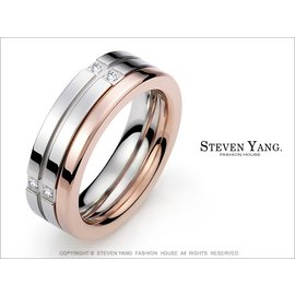 ~攬勝~~KA593A~混搭雙環 珠寶白鋼~守護傳說~戒指 銀色 專櫃 單個 情人節