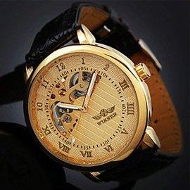 暢銷~陀飛輪正品 豪華 金色前後鏤空機械手腕錶  共3款式