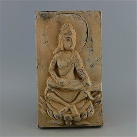漢代浮雕坐蓮佛像陶磚 民間收藏品 出土漢代陶磚古玩古董裝飾