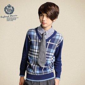 伊頓紀德英倫格子假兩件毛衫男童毛衣兒童針織衫紳士毛線衣14905