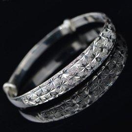 煜利珠寶 純銀手鐲女款滿天星 銀鐲子 足銀飾品 送女友情人節 10克