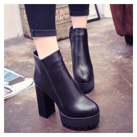 女鞋2015 新品厚底松糕馬丁靴粗跟高跟短靴側拉鏈防水臺靴子潮