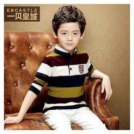 一貝皇城 男童秋裝2015 長袖T恤條紋 中大兒童POLO衫上衣