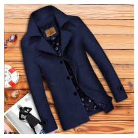 青年男士中長夾克外套 修身商務 大碼男裝薄款翻領單衣