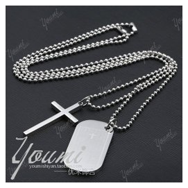 不鏽鋼十字架英文主禱文軍士牌狗牌男女情侶項鏈吊墜鈦鋼圓珠項鏈