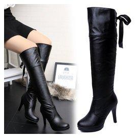 鼕季細跟長筒靴高跟女靴子高筒靴套筒過膝長靴加絨防水臺皮靴馬靴