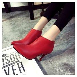 2015秋鼕款歐洲站靴子真皮細跟短靴踝靴女高跟鞋鐵跟拼接尖頭裸靴