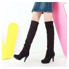 秋鼕瘦腿彈力靴性感細跟過膝靴長靴圓頭高跟騎士靴女靴子一鞋兩穿