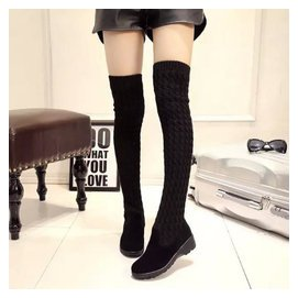 秋鼕季長靴毛線高筒靴低跟平底平跟 磨砂翻毛皮女鞋女靴子