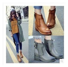 歐洲站真皮尖頭馬丁靴女英倫風內增高復古擦色女靴子粗跟短靴踝靴