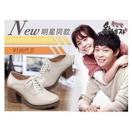 XMM2015 粗跟單鞋女鞋韓國真皮小白鞋高跟鞋厚底 鞋小皮鞋