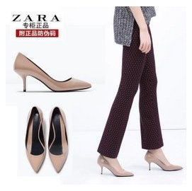 ZARA女鞋正品 2015 漆皮淺口尖頭細跟高跟鞋通勤單鞋子2220女涼鞋 性感女女 夜店