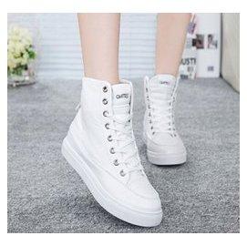 正韓正品 超級百搭,美腿修身 tfboys同款鞋子女學生布鞋平底 板鞋女 潮白色高幫帆布鞋