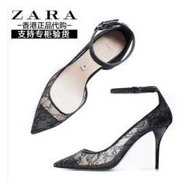 香港專櫃正品 zara女鞋正品 2015春 性感蕾絲涼鞋細跟夜店高跟鞋上腳真的超美!很有誘