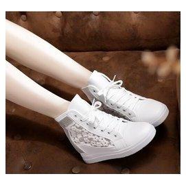 超~美~美~ 百搭 2015春夏款 水鉆內增高厚底鞋高幫鞋網紗 女鞋 鞋單鞋