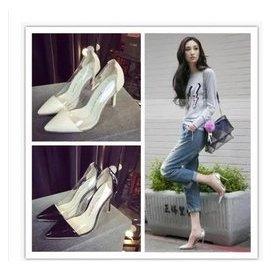 吳佩慈明星同款白色婚鞋紅色透明尖頭高跟細跟拼色真皮淺口單鞋女