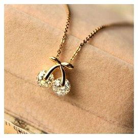 2309 韓國飾品 玫瑰金保色吊墜 鋯石櫻桃短款項鏈 女鎖骨鏈