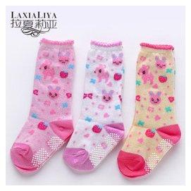 拉夏莉亞新生兒可愛寶寶中筒襪嬰兒長襪子堆堆襪純棉鞋襪防滑學步地板襪0~1~3歲厚 裝 3雙