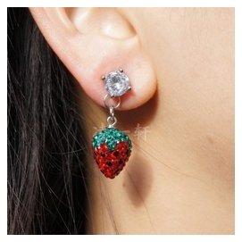 鍍白金鋯石花朵耳釘紅色綠色草莓施華洛世奇水晶滿鑽球吊墜耳環