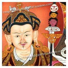 藏傳佛教~唐卡蓮花生大師佛畫像5780海報卷軸掛畫 布畫