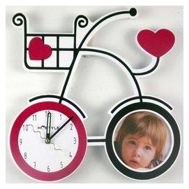卡通掛鐘歐式鐘表簡約自行車靜音 客廳臥室相框璧鐘時鐘