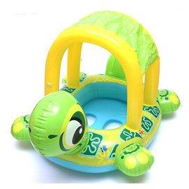 可愛烏龜座圈嬰兒遊泳圈兒童遮陽蓬坐圈 水上衝氣玩具