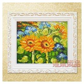 煌巢尚品 油畫 兒童房裝飾畫 純手繪多款油畫 壁畫~001 向陽花油畫 帶框尺寸長33高2